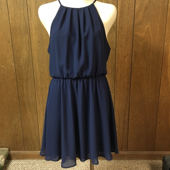 5605054c5f392 Lush Dresses & Skirts - Lush Blouson Chiffon Skater Dress- Navy Blue Large